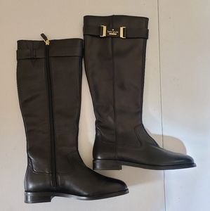 Kate Spade black 100% leather boots sz5.5  [N1E]